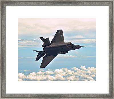 F 35 Joint Strike Fighter Lightening II Banking Enhanced II Framed Print by US Military - L Brown