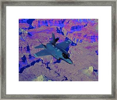 F 35 Joint Strike Fighter Lightening II Enhanced II Framed Print by US Military - L Brown