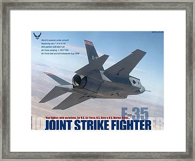 Lockheed Martin F-35 Joint Strike Fighter Lightening II With Text Framed Print by L Brown