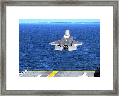 F-35 Slow Vertical Take Off From Amphibious Assault Carrier Us Marine Corps Framed Print by L Brown