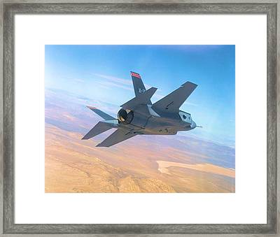 F 35 Strike Fighter Enhanced Framed Print by US Military - L Brown