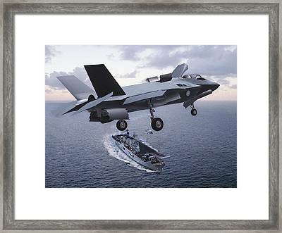 F 35 Strike Fighter On Final Approach To The Us Marine Corps Assault Carrier Framed Print by L Brown