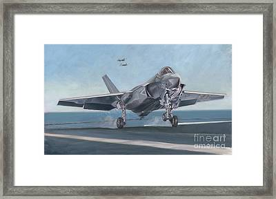 Framed Print featuring the painting F-35c Carrier Landing by Stephen Roberson