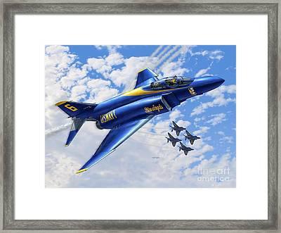 F-4 Phantoms In Blue Framed Print by Stu Shepherd