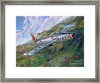 F-84 Thunderjet Over Korea Framed Print by Stu Shepherd