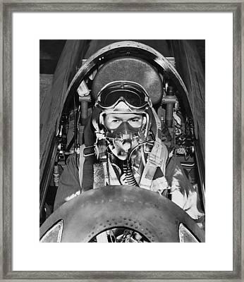 F-84 Thunderjet Pilot Framed Print by Underwood Archives