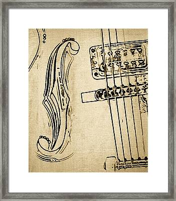 F Hole Line Drawing Framed Print by Chris Berry