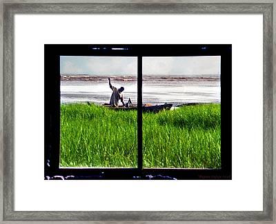 Fisherman Window Framed Framed Print
