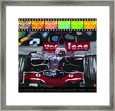 F1 Alonso Wins Monaco 2008 Pop 2 Framed Print