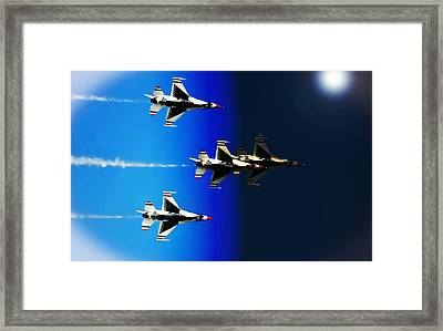 Framed Print featuring the photograph F16 Flight Into Space by DigiArt Diaries by Vicky B Fuller