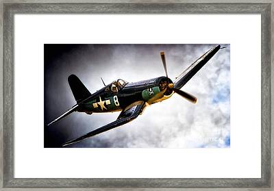 F4u Corsair 'jolly Roger Jump' Framed Print