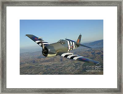 F6f Hellcat Flying Over Chino Framed Print