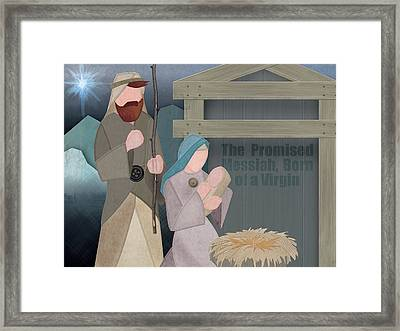 Fabric Nativity Framed Print