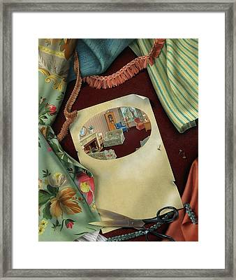Fabrics And Trimmings Framed Print by Victor Bobritsky