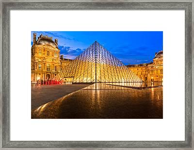 Fabulous Louvre Pyramid At Night Framed Print