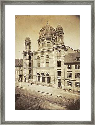 Facade And Dome Of The New Synagogue In Berlin Framed Print