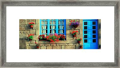 Facade Of A Building, Locronan, France Framed Print