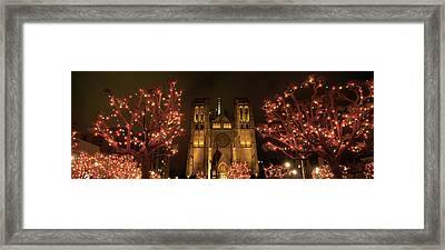 Facade Of A Church, Grace Cathedral Framed Print by Panoramic Images
