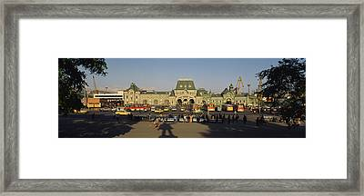 Facade Of A Railroad Station Framed Print by Panoramic Images