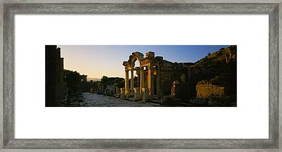Facade Of A Temple, Hadrian Temple Framed Print by Panoramic Images