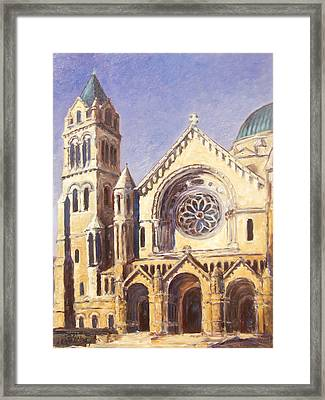 Facade Of Cathedral Basilica In St.louis Framed Print