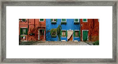 Facade Of Houses, Burano, Veneto, Italy Framed Print by Panoramic Images