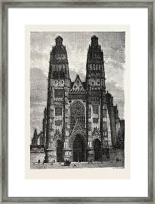 Facade Of The Metropolitan Church Of Tours Framed Print