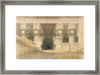 Facade Of The Temple Of Hathor, Dendarah, From Egypt And Nubia, Engraved By Louis Haghe 1806-85 Framed Print by David Roberts