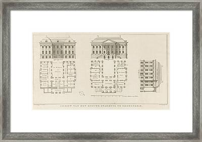 Facades And Floor Plans Of The City Hall Of Groningen Framed Print
