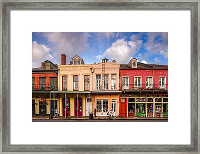 Facades Of Houses In The French Quarter Vieux Carre - New Orleans Louisiana Framed Print by Silvio Ligutti