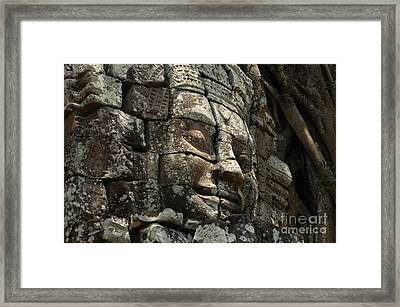 Face At Banyon Ankor Wat Cambodia Framed Print by Bob Christopher