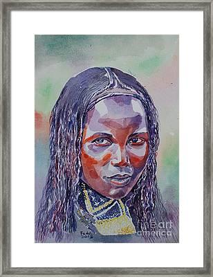 Face From Sudan  1 Framed Print by Mohamed Fadul