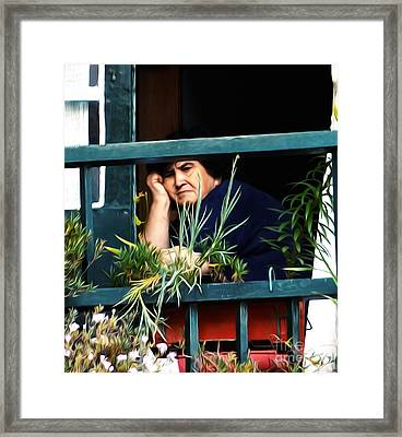 Face In A Window Framed Print