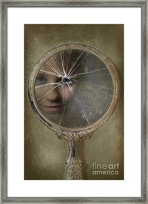 Face In Broken Mirror Framed Print