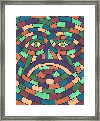 Face In The Maze Framed Print