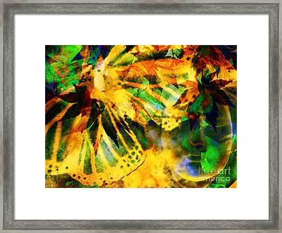 Face In The Rock Conjures Leaves Into Butterfly Framed Print by Elizabeth McTaggart