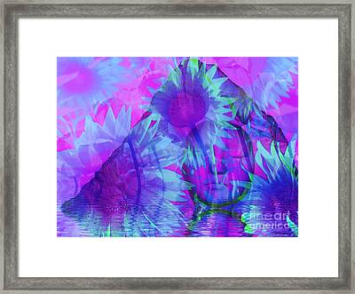 Face In The Rock Dreams Of Sunflowers Framed Print by Elizabeth McTaggart