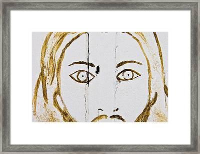 Face Of Jesus Fairview Cemetery Midland Texas 2010 Framed Print by John Hanou