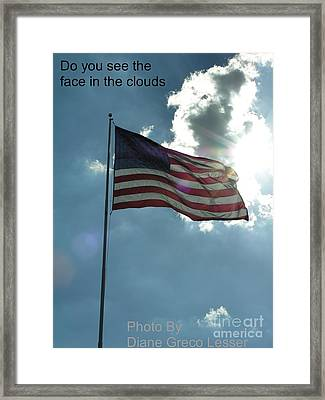 Face Of Jesus In Cloud W Flag 9 11 Remembered  Framed Print