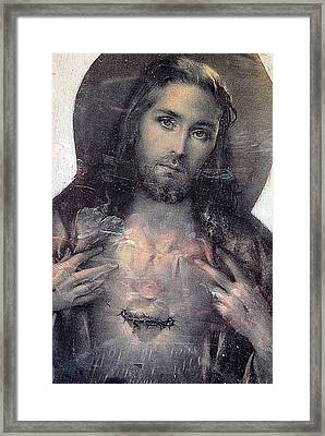 Face Of Jesus San Jose De Armijo Cemetery Albuquerque New Mexico 2010 Framed Print