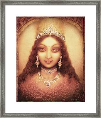 Face Of The Goddess Durga  Framed Print by Ananda Vdovic
