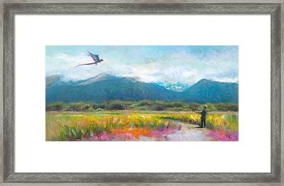 Face Off - Boy Facing His Dragon Kite Framed Print by Talya Johnson
