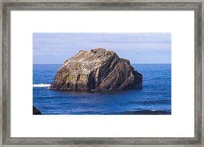 Framed Print featuring the tapestry - textile Face Rock by Dennis Bucklin