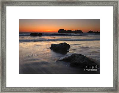 Face Rock Sunset Framed Print by Mike Dawson