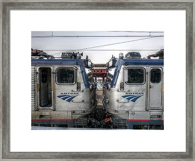 Face To Face On Amtrak Framed Print by Richard Reeve