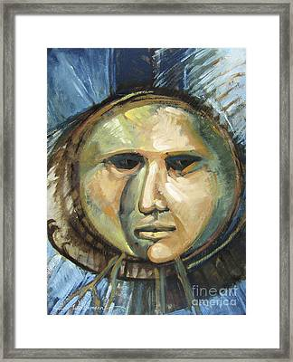 Faced With Blue Framed Print