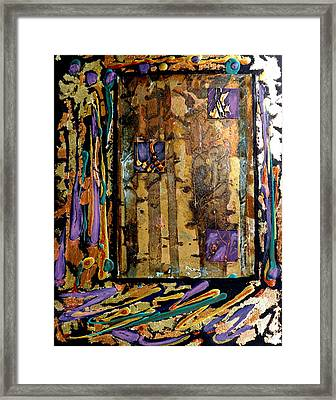 Faces In The Doorway Framed Print