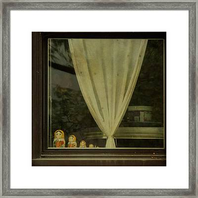 Framed Print featuring the photograph Faces In The Window by Sally Banfill