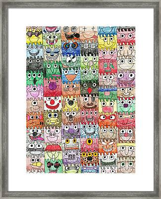 Faces Puzzle Poster Framed Print