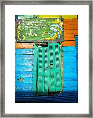 Framed Print featuring the photograph Fachada De Conventillo by Silvia Bruno